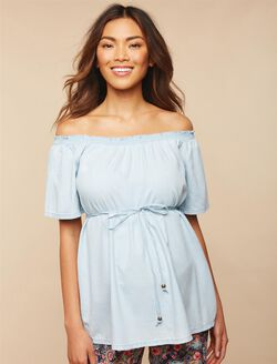 Smocked Off the Shoulder Maternity Top, Chambray