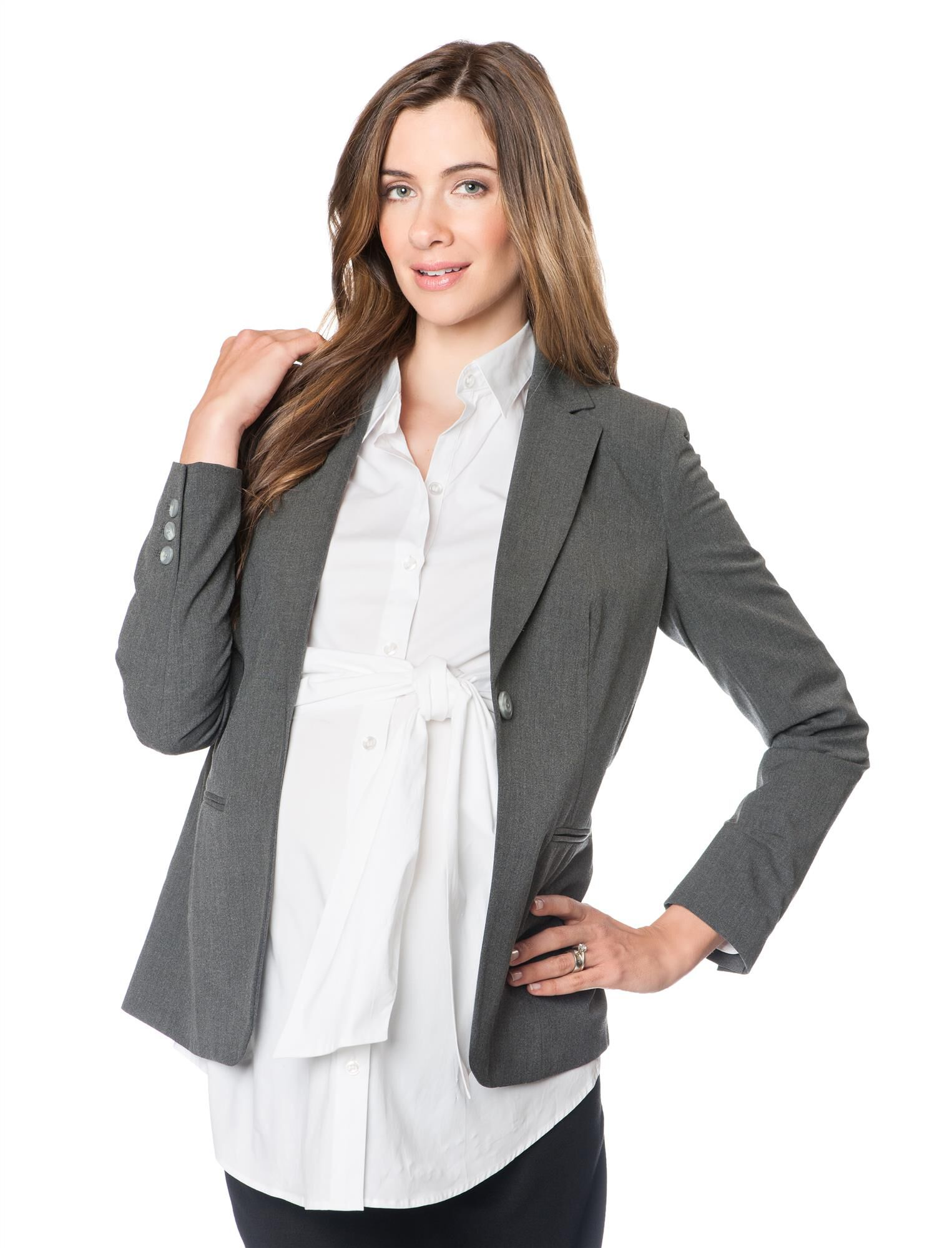 Tailored Bi-stretch Suiting Maternity Jacket