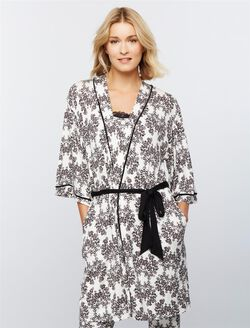 Tie Front Maternity Robe, Damask