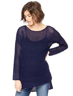 High-low Hem Open Stitch Maternity Sweater, Navy