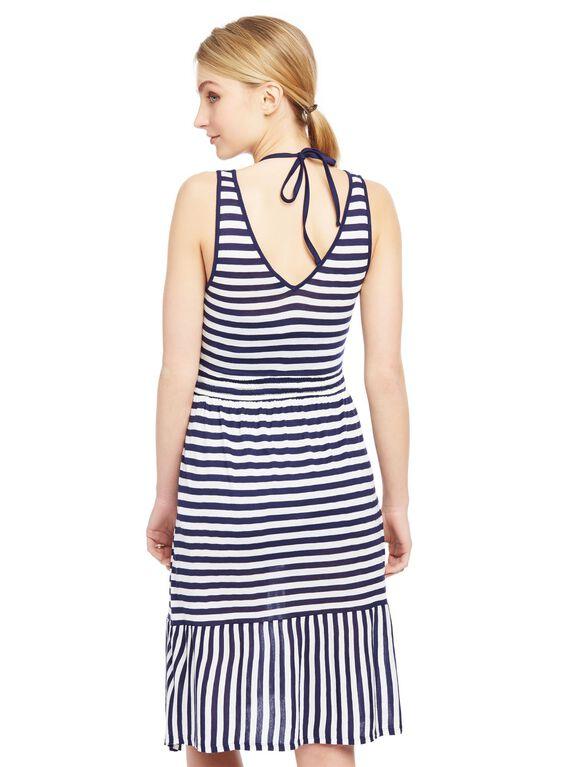 Ruffle Hem Maternity Swim Coverup, Navy/White Stripe