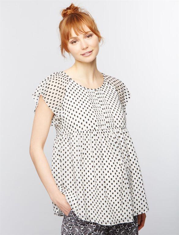 Jacquard Flutter Sleeve Maternity Blouse, Black/White Print