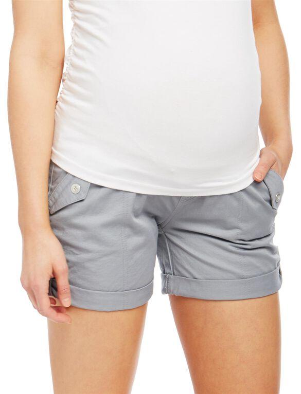 Secret Fit Belly Roll Hem Maternity Cargo Shorts, Grey