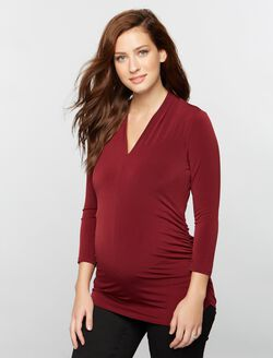 Side Pleat Maternity Top- Solid, Fall Burgundy
