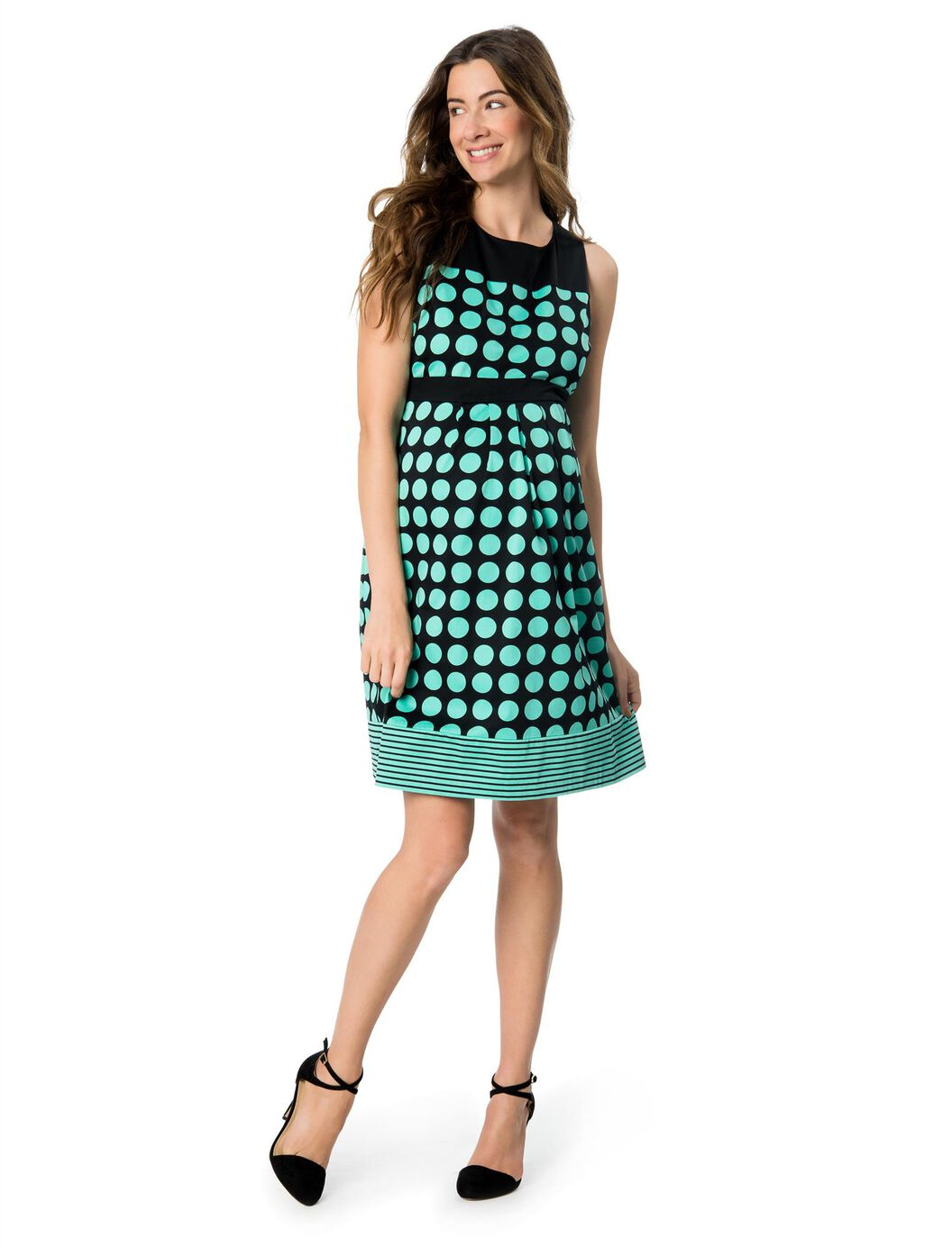 Pleated sateen maternity dress blackgreen dot motherhood maternity pleated sateen maternity dress blackgreen dot blackgreen print ombrellifo Image collections