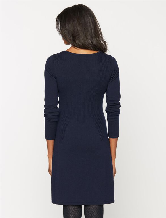 Design History Cable Knit Maternity Dress, Navy Blue