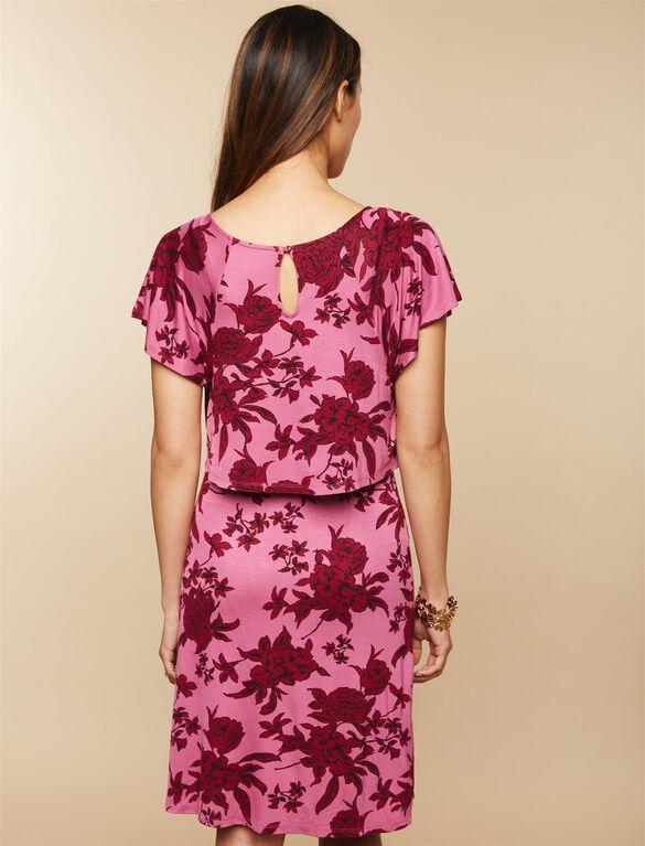 Lift Up Flutter Sleeve Nursing Dress, Red Floral