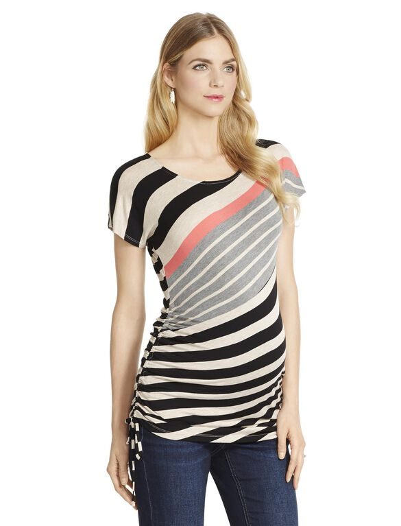 Jessica Simpson Side Tie Striped Maternity Tee, Orange Multi Stripe