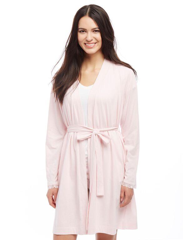 Bump In The Night Tie Front Nursing Robe, Chalk Pink