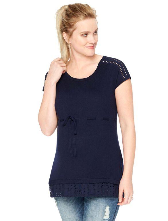 Shoulder Detail Maternity Sweater, Pea Coat
