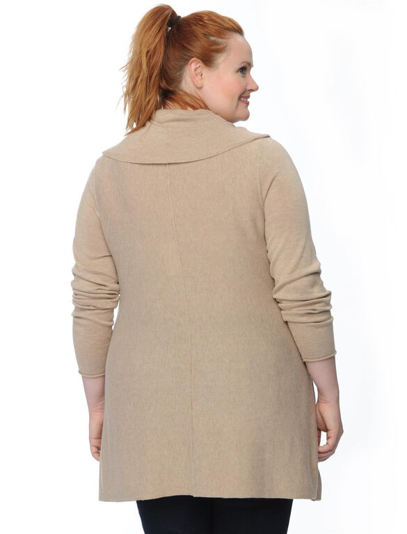 Plus Size Hanky Hem Maternity Sweater, Natural