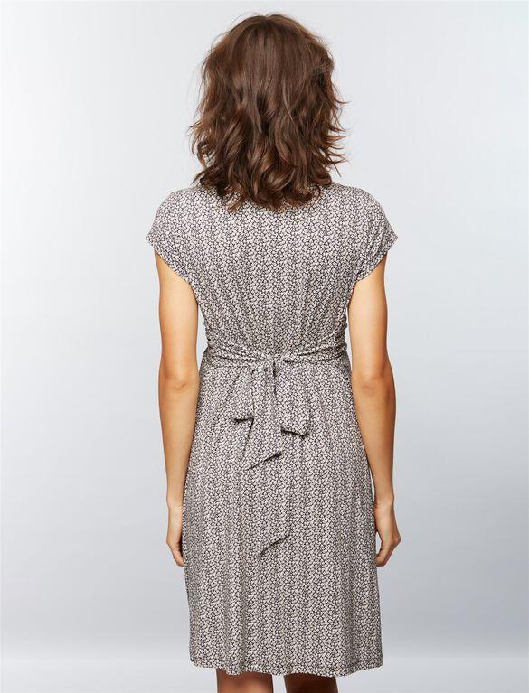 Seraphine Jolene Short Sleeve Maternity Dress- Black/White Floral, Black Floral