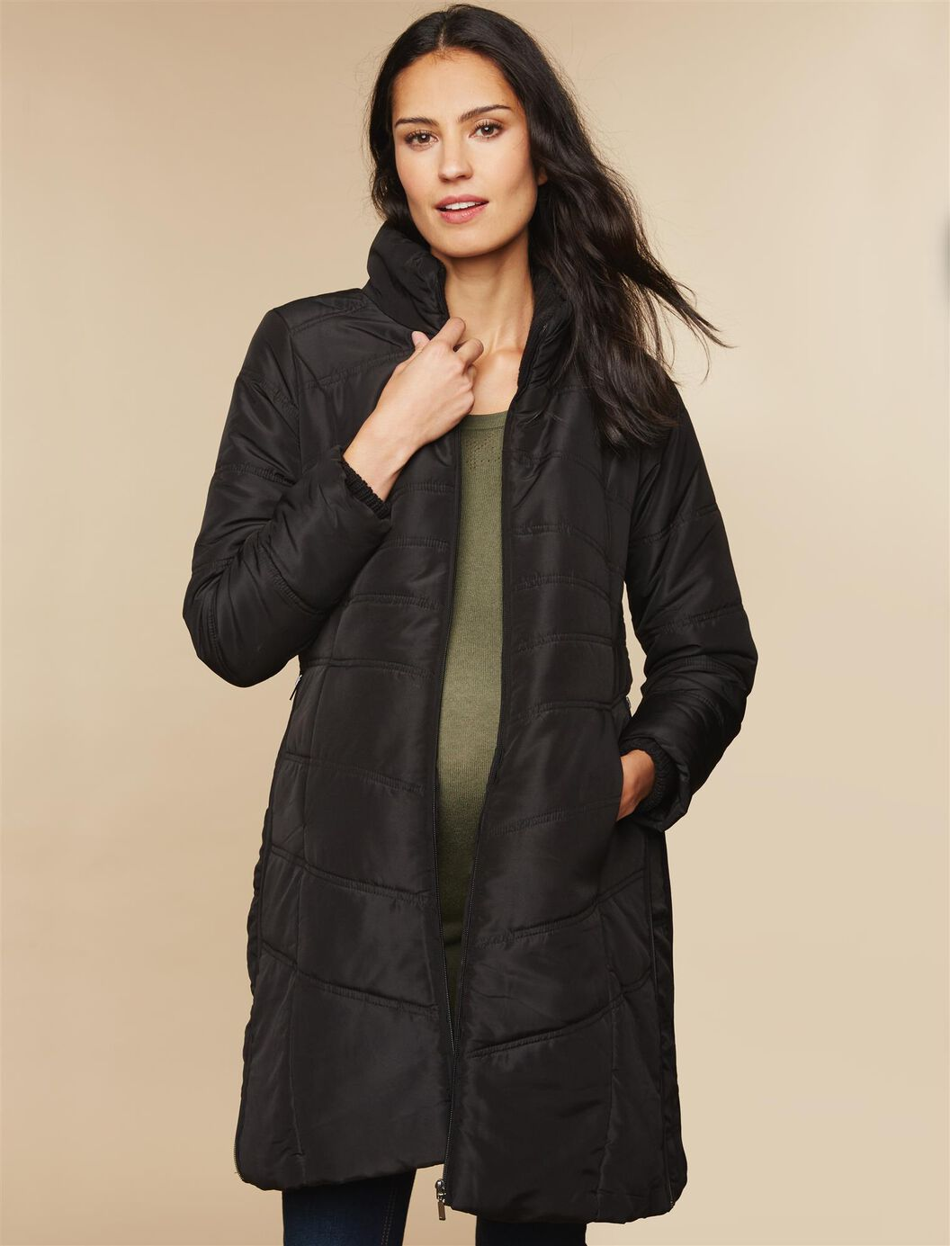 Quilted Puffer Knee Length Maternity Coat at Motherhood Maternity in Victor, NY | Tuggl