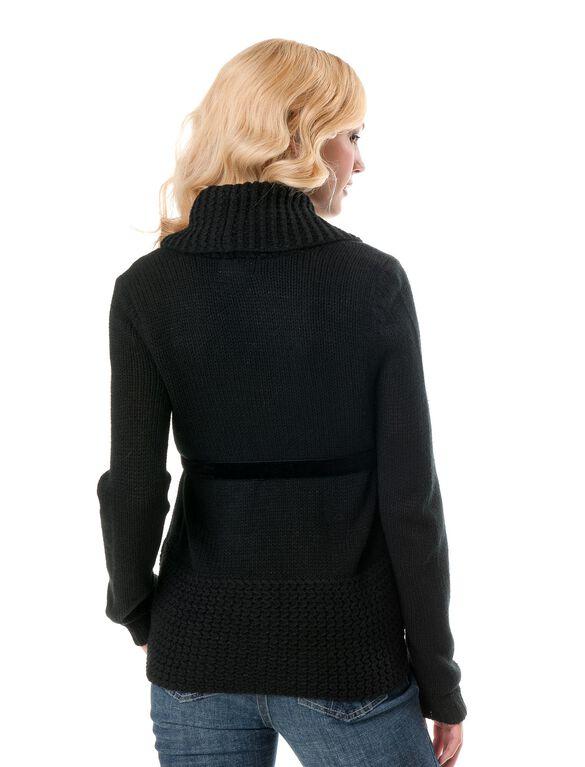 Belted Maternity Cardigan, Black