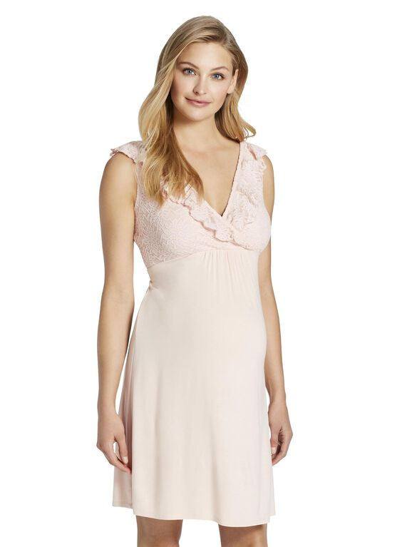 Jessica Simpson Ruffled Nursing Nightgown, Potpourri Pink