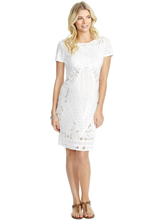 Jessica Simpson Knit Lace Maternity Dress, White And Nude