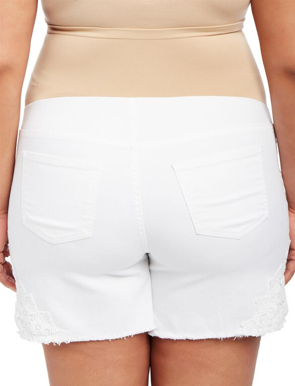 Plus Size Secret Fit Belly Crochet Detail Maternity Shorts, White