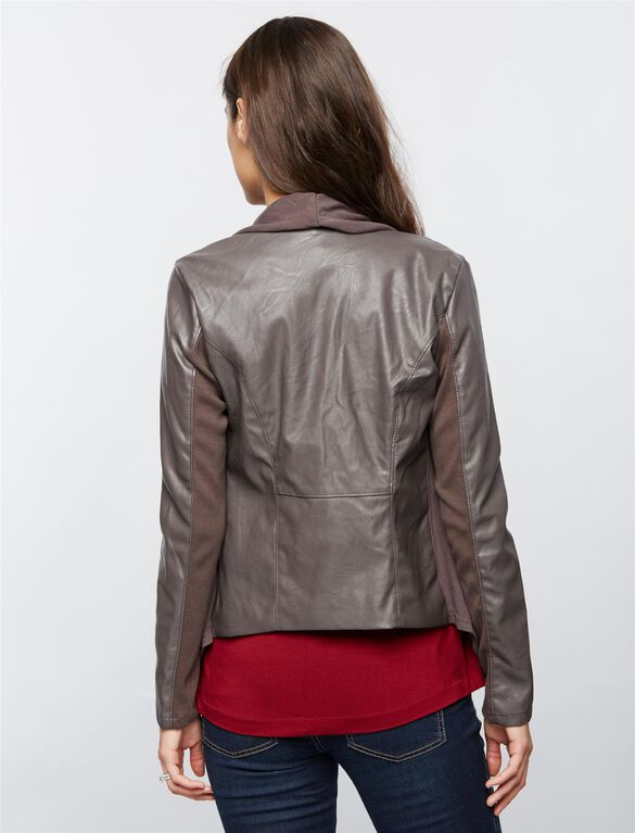 Blank Nyc Zip Front Faux Leather Maternity Jacket, Dark Gray