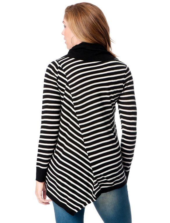 Hanky Hem Maternity Sweater, Black/Egret Stripe