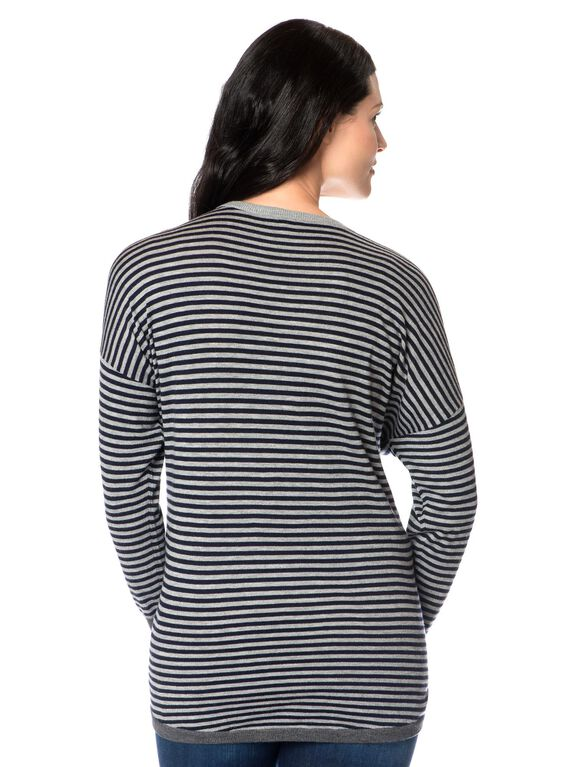 Relaxed Maternity Sweater, Navy/Heather Grey