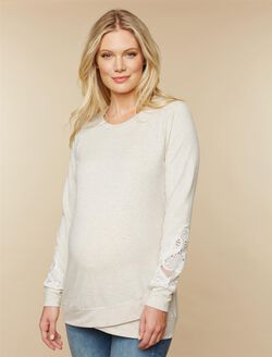 Lace Sleeve Maternity Sweatshirt, Oat