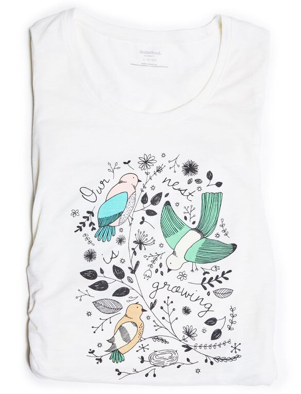 Our Nest is Growing Maternity Tee, White