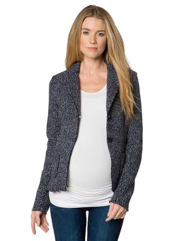 2 Button Closure Wool Maternity Jacket, Blue Print