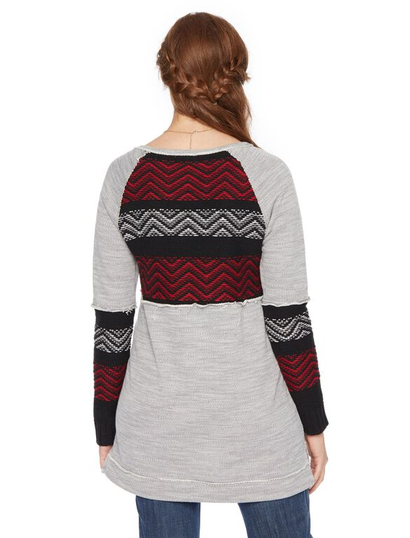 Wendy Bellissimo Zig Zag Knit Maternity Sweater, Red And Grey