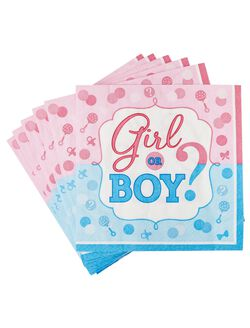 Girl or Boy Gender Reveal Large Napkins, Pink/Blue