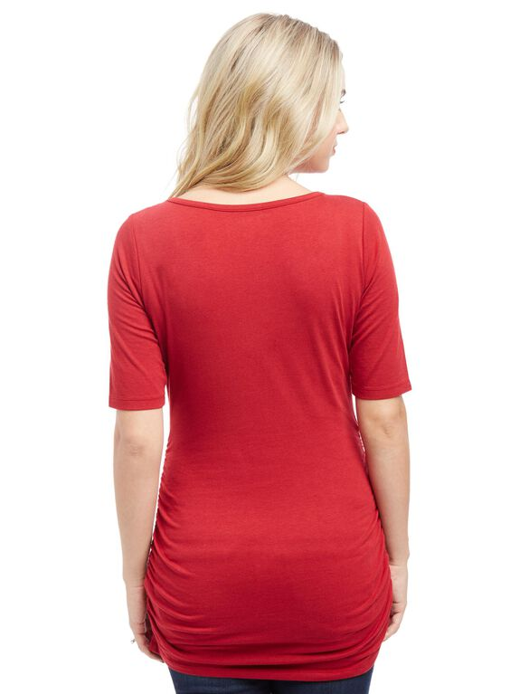 Elbow Sleeve Side Ruched Maternity Tee, Rio Red
