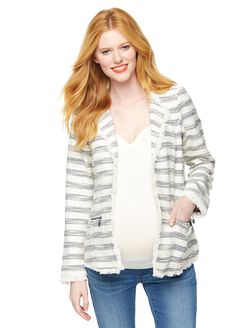 Willow & Clay Tweed Maternity Blazer, Cream/Navy Stripe