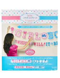 Girl or Boy Gender Reveal Letter Banner Kit, Pink/Blue