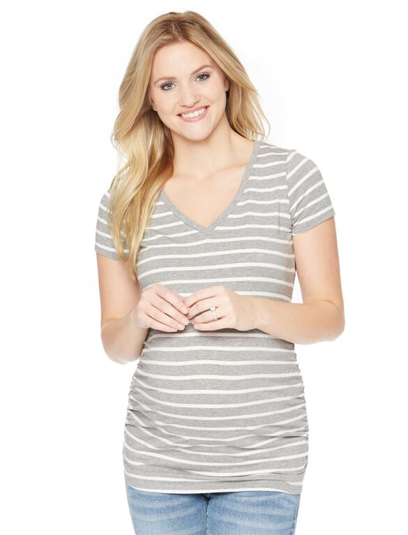V-neck Side Ruched Maternity Tee, Grey / White Stripe