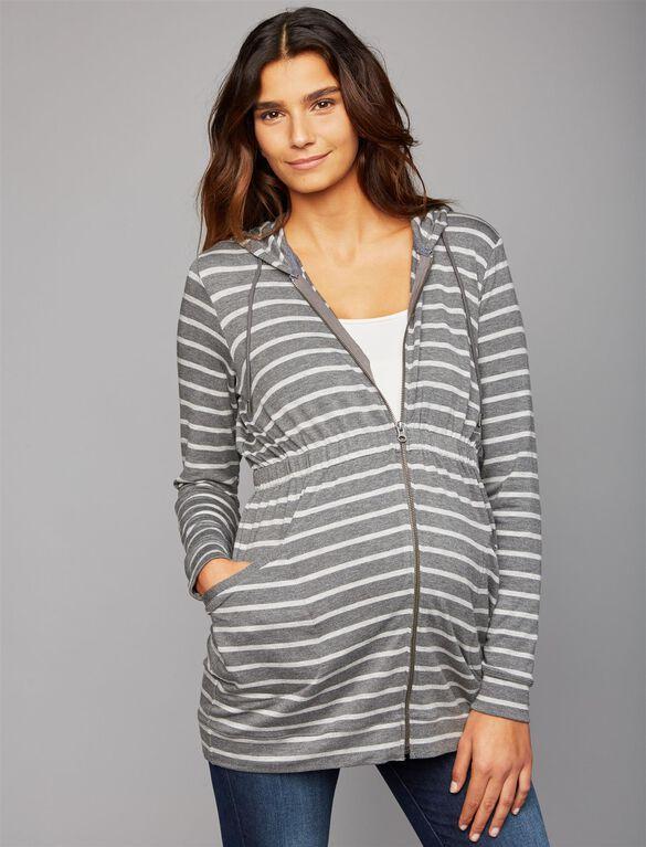 Layering Maternity Sweatshirt, Grey Stripe