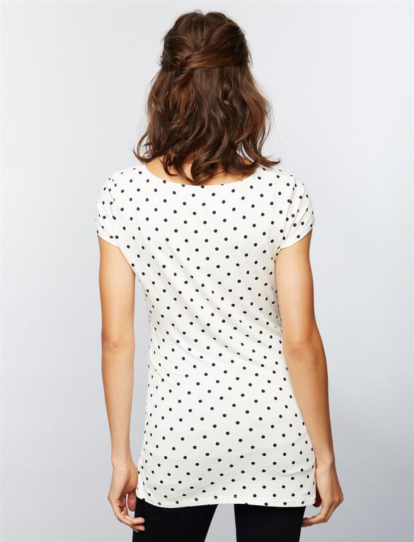 Envie de Fraise Aude Maternity Top- Dot Print, White/Navy Dot