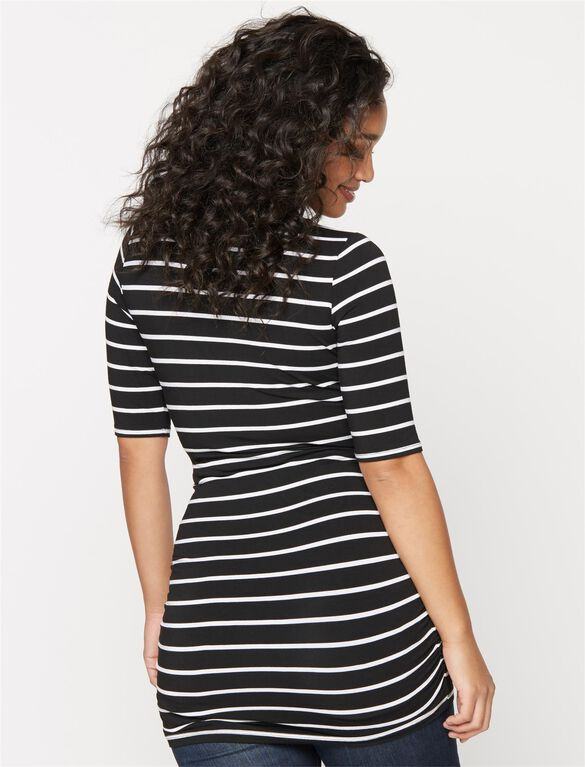 Striped Side Ruched Maternity Tee, Black/White