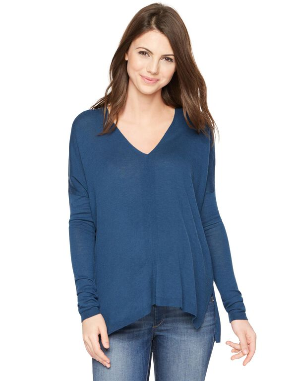 Vince Long Sleeve Maternity Wool Jersey Shirt, Teal