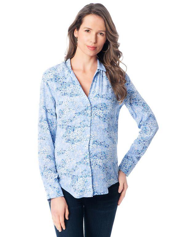 Equipment Button Front Maternity Shirt, Amparo Blue Multi