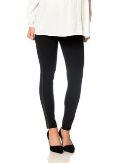 Under Belly Faux Leather Maternity Leggings, Black