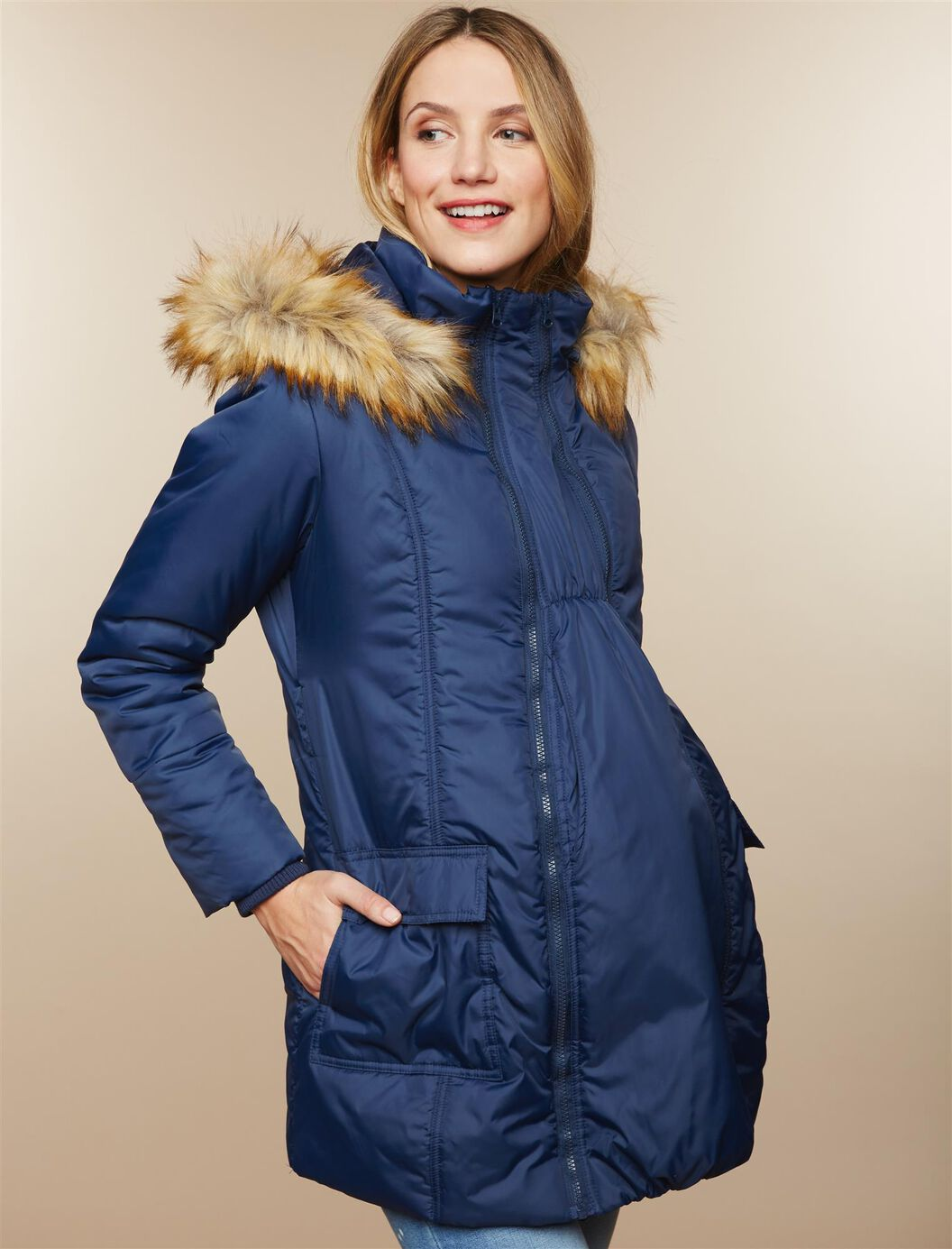 Modern Eternity 3 In 1 Belted Maternity Puffer Coat at Motherhood Maternity in Victor, NY | Tuggl