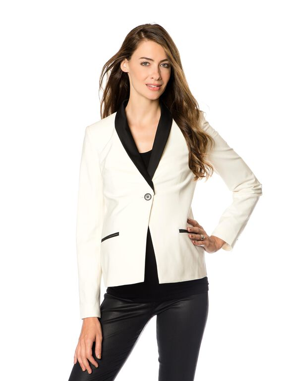 1 Button Closure Crepe Maternity Jacket, White
