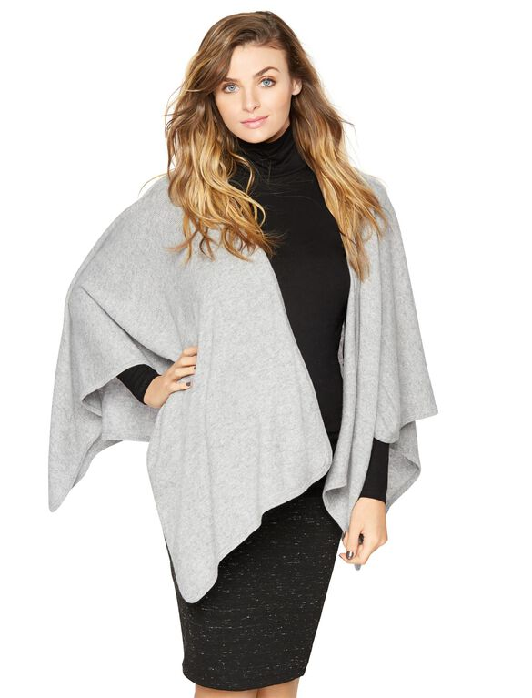 Quinn Wrap Maternity Sweater, Granite