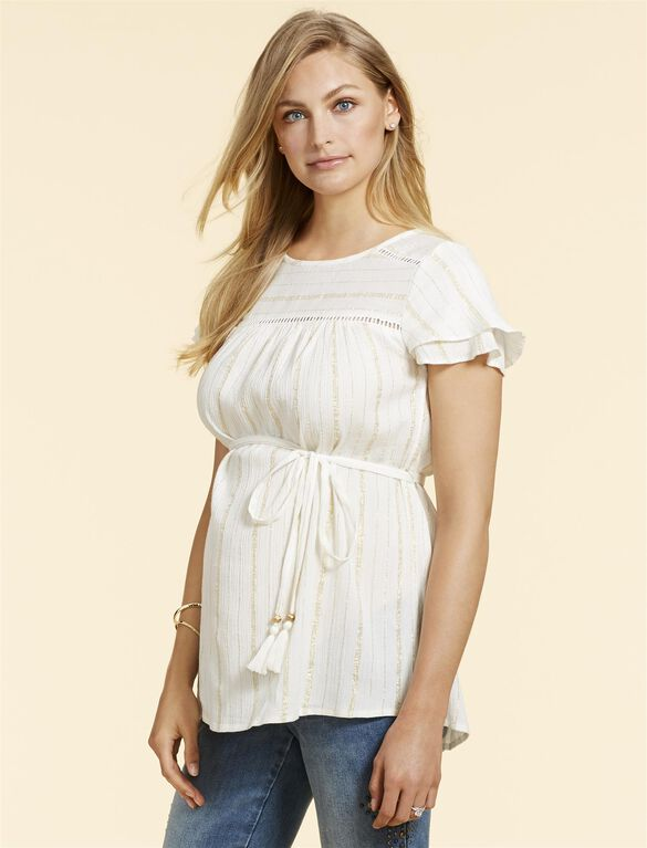 Jessica Simpson Lurex Stitching Maternity Top, White / Gold Stripe