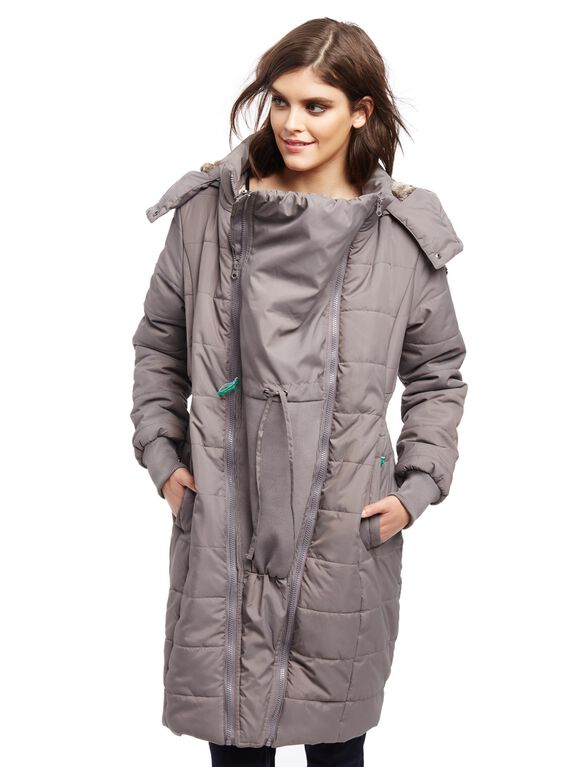 Modern Eternity 3 In 1 Knee Length Maternity Puffer Coat, Grey