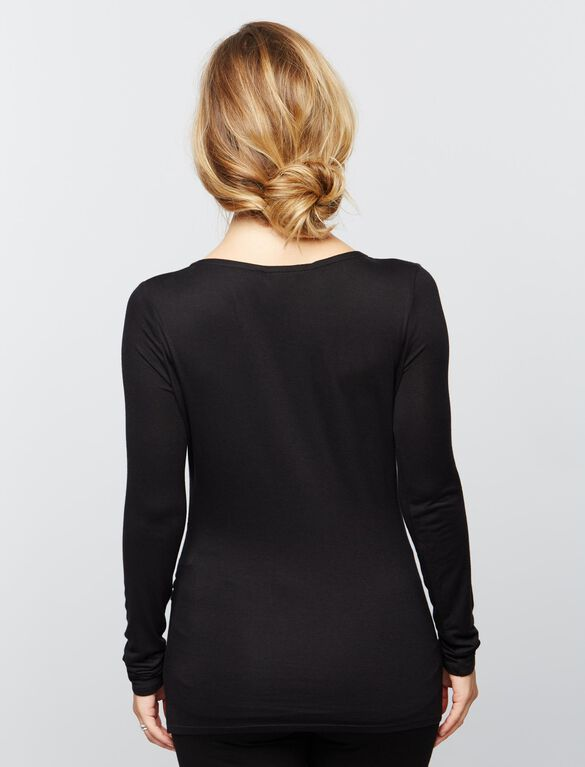 Faux Wrap Long Sleeve Nursing Sleep Top- Black, Black