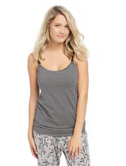 Clip Down Nursing Cami- Stripe, Black / Grey Stripe