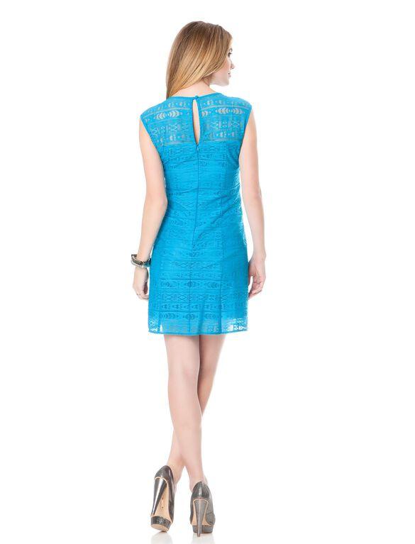 Embroidery Maternity Dress, Cyan