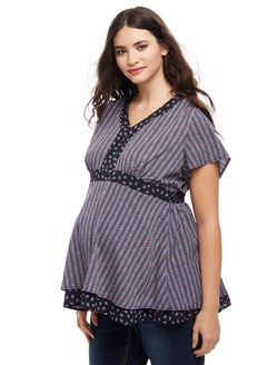 Plus Size Peplum Maternity Blouse, Black Multi Geo