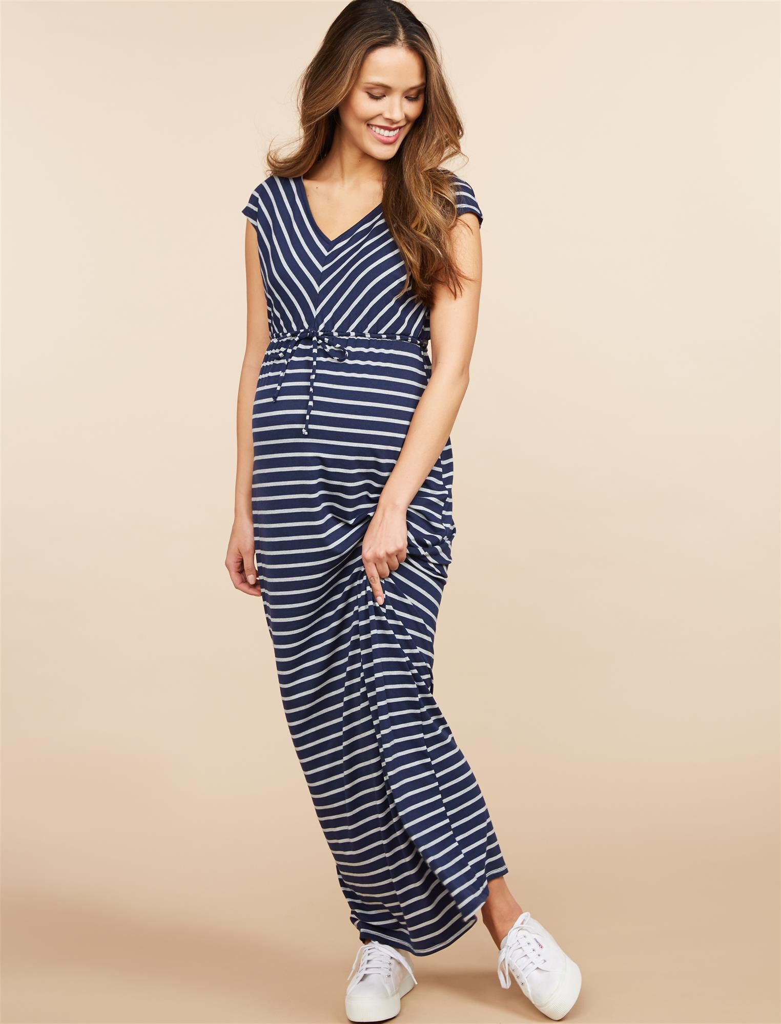 Striped Drawstring Maternity Maxi Dress