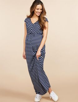 Striped Drawstring Maternity Maxi Dress, Black/White Stripe